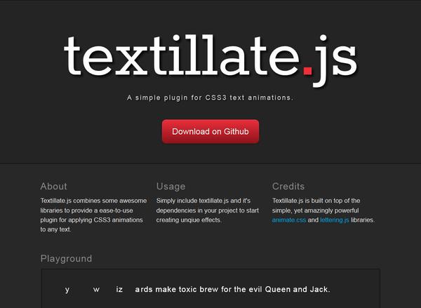 textillate.jsのデモサイト