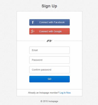 InstaPageの会員登録イメージ
