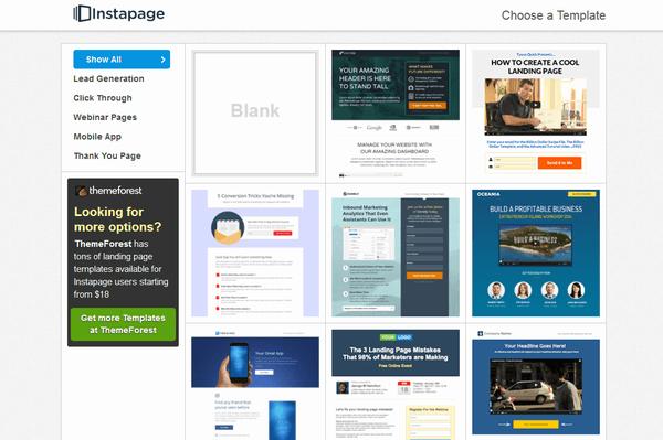 InstaPageのログイン後のページ