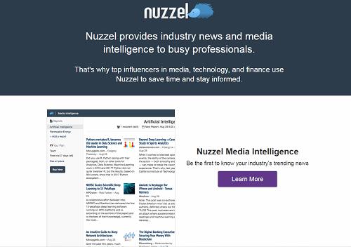 Nuzzelのトップページ